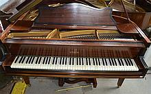 Steck mahogany and ebonised baby grand piano