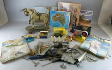Lines Bros. wooden model train, Pedigree Prams wooden model steam roller, tin plate tipper truck and other toys including a stuffed toy dog, jigsaws, models of yesteryear, etc.,