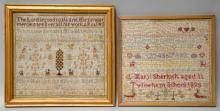 Two late 19th century needlework sampler