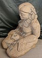 In the manner of Sir Jacob Epstein, carved stone figure of a woman, 24.5