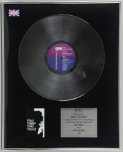 Paul Weller, Wild Wood, 1994 framed & glazed album award for 300,000 sales, presented to record executive Nigel Haywood, 16 x 20.5 inches.Original award discs from the collection of ex-record company executive Nigel Haywood. Nigel Haywood had a career in the music industry spanning over 30 years & during this time worked with some of the biggest stars of world music including Dire Straits, Elton John, The Jam & U2