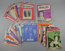 Collection of sheet music including Green-Sleeves, Frankie Laine, Blondie, Cilla Black, The Hollies, Frankie Vaughn, Al Martino, Bob Dylan & others