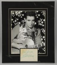 Eddie Cochran, A green biro autograph, 'Best forever, Eddie Cochran', on an autograph album page mounted with a classic 8 x 10 inch photo. Provenance: Comes with COA