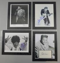 Four autographs including Chuck Berry, Del Shannon, Fats Domino & Little Richard, three on photos & one on an autograph album page.Provenance:  All with COAÉs.