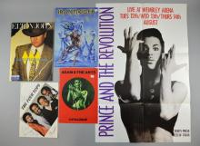 Music programmes, Iron Maiden signed by Steve Harris, Elton John signed programme, The Four Tops signed programme, Adam & The Ants catalogue, & Prince & The Revolution poster