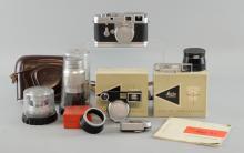 Leica M3 Rangefinder Camera, serial no. 782937, lenses including Summicron 1:2 Nr. 1578757, Elmar 1:4 Nr. 1386712, Elmar 1:4/135 Nr. 1824012, Summicron 1:2/50, Summicron 1:2/35, Leica Meter MC, Instruction Book, Leather Case