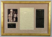 Joseph Michael Joe Cargo Valachi (1903 - 1971) Italian American, the first Mafia member to publicly acknowledge the existence of the Mafia, a handwritten letter dated July 1965, with original envelope, mounted & framed, 17 x 25 inches