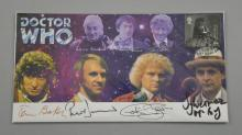 Doctor Who, Signed limited edition first day cover, 213/1500, including Tom Baker, Peter Davison, Colin Baker & Sylvester McCoy, 8.5 x 4.5 inches