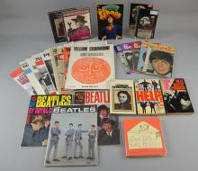 Beatles Memorabilia including The Beatles Book Monthly No. 2, 3 & 4, A Spaniard In The Works, John Lennon In His Own Write, Love Letters To The Beatles (all hardback), four Beatle Pop Pics Super magazines (one of each Beatle), five paperback books, Meet The Beatles No.12, two other Beatles Magazines, Beatles American publication newsletter from 1964 No.1 edition & twelve Beatles songsheets from the 1960's/70's.