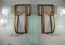 Cinema - Pair of metal light fittings complete with frosted glass panels from The Ritz Southend, c 1935, architect Robert Cromie