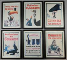 John Gilroy 1898-1985, six signed Guinness advertising posters, dated 1981 on reverse, framed, 12 x 8 inches