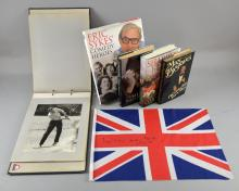 20+ books all signed to Eric Sykes including, John Mills, Bernard Cornwell, Dennis Waterman, Max Bygraves & others, a flag signed by John Mills & a photographs album showing Haho Vs. Booth's Distilleries Golf Match at Sunningdale Golf Club 1963.Provenance: From the estate of Eric Sykes CBE, Esher, Surrey.