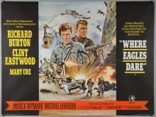 Where Eagles Dare (1969) British Quad film poster, War starring Clint Eastwood & Richard Burton, MGM, folded, 30 x 40 inches