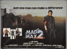 Mad Max 2 (1982) British Quad film poster, starring Mel Gibson, Warner Bros, folded, 30 x 40 inches