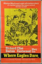Where Eagles Dare (1968) UK Two Sheet film poster, starring both Clint Eastwood & Richard Burton, MGM, folded, 40 x 60 inches