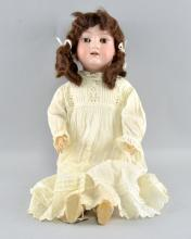 Armand Marseille 390 bisque headed doll brown sleeping eyes, open mouth and composition body, 40cm high,