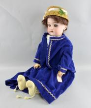 Simon and Halbig Kammer and Reinhardt bisque headed doll, blue sleeping eyes, composition body, dressed in clothes, 62cm high