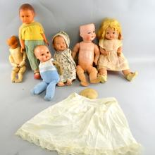 Collection of dolls including  SNF  celluloid doll, an Armand Marseille bisque headed doll 996,