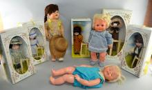 Five Pedigree Kate Greenaway boxed dolls, a Pedigree doll boxed, a bluebell Choosy Susie baby doll and a Palitoy Baby wont let go baby doll, (8),