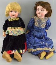 Heubach & Koppledorf bisque headed doll 250.4 with blue sleeping eyes and composition body, open mouth and a Handwerck bisque headed doll with brown sleeping eyes and open mouth,