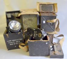 Four daylight signalling lamps, short-range, another Type B Mk3 / A. P. portable signalling lantern, Harley,