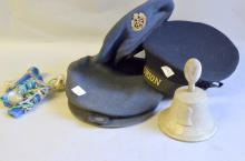 Sailor's cap with Ship Ribbon HMS Centurion, RAF cap and beret, RAF Benevolent Fund bell and 3 Air Crew sea water lamps,