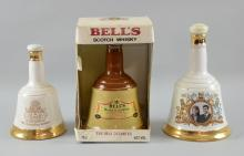Three bottles of blended Bells Whisky, 1 in wade porcelain decanter to commemorate the marriage of Prince Andrew and Sarah Ferguson 75cl, 1 in wade porcelain decanter to commemorate the birth of Prince William 50cl, 1 in Bells Decanter 75cl (3)