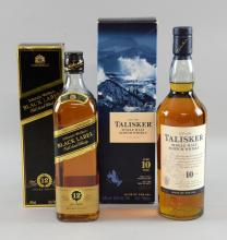 10 year old single malt Talisker 70cl, and Johnnie Walker Black Label 12 Year old Extra special 70cl