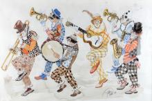John Uht, clown marching band, signed, watercolour, 43cm x 60cm and three watercolour sketches by the same artist, with two  original sale receipts,