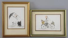 Jill Uht, two watercolour sketches of a vicar, each 9cm x 14cm,  with original sale receipt,