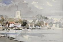 A Pearce, 'Bamburgh Castle', signed, watercolour, 26cm x 36cm,  and 'Christchurch Priory', 20cm x 32cm, with original sales receipts,