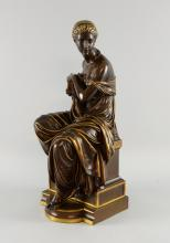Eugene Aizelin  (French 1821-1902) 19th century bronze, Pandora seated on a plinth base inscribed Aizelin,  F Barbedienne, Fondeur.  46cm high Provenance:   Single owner collection from a local estate