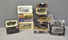 Corgi World War II model Tanks and Vehicles (x19), Corgi 60th Anniversary D-Day mixed collection of models (x7), and Corgi World War II Legends model tanks (x6) in perspex boxes (32 in total)