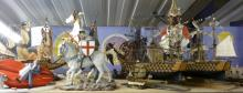 Two models of ships HMS Victory other items to include four small galleons, Bulldog horseguard, two horses and an Alsatian,