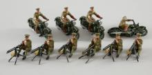 Britains, five machine gunner figures and four riding motor cycles,