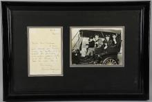 The Beatles - Black & White promotional photograph signed by John Lennon, Paul McCartney, George Harrison & Ringo Starr (8.5 x 6.5 inches), with letter from Louise Caldwell (George Harrison's sister), Louise Caldwell has also inscribed the reverse of