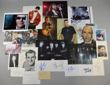 Collection of photographs & autograph cards signed by male music stars including  Neil Sedaka, Tony Christie, Bryan Ferry, Cliff Richard, Russ Conway, Elton John, Ricky Wilson, 26 in total