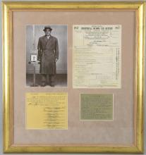 Vito Don Vito Genovese (1897 - 1969) Italian-American mobster, an individual tax return & a witness page signed by Vito Genovese, framed, 22 x 20 inches