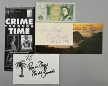 Ronnie and Reggie Kay  British gangsters, signed photo, Christmas card, a Birthday card to Reggie and Memorial booklets for  the  funeral of Reginald Kray  one annotated ' A man among Men ' ( 4)