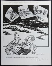 William Bill Hewison, original cartoon, All my sons, Lyttleton Theatre. Ben Daniels, James Hazeldine, The Times, 9 Aug 2001. Provenance; Bill Hewison was a well-known cartoonist who worked as Art editor for Punch for 24 years and produced many of