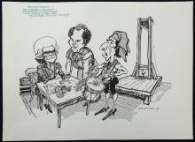 William Bill Hewison, original cartoon, Danton's death, Young Vic Studio, Punch 25 Mar 1987, Des McAleer, Steven Dykes, Julian Forsyth. Provenance; Bill Hewison was a well-known cartoonist who worked as Art editor for Punch for 24 years and produced