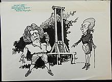 William Bill Hewison, original cartoon, Danton's death, Olivier Theatre, Punch, 4 Aug 1982, Brian Cox, John Normington, 10 x 12. Provenance; Bill Hewison was a well-known cartoonist who worked as Art editor for Punch for 24 years and produced many of