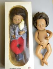 1970's Sasha doll No 508 Baby White Bird Brown hair in original box and another Sasha bay doll, unclothed and unboxed