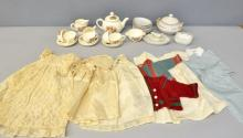 Dolls tea set, dolls dinner service, small collection of early 20th dolls clothes,