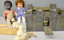 Pelham puppet of a poodle Junior control, a Pedigree brown doll, another doll and a Fort