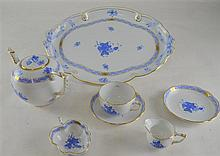 Herend porcelain tete a tete tea set, decorated in blue and white, in Chinese manner