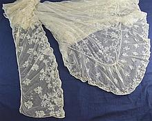 Lace Limerick Ireland 19th C, a cradle cover and veil or shawl, design of formal floral arrangements and small floral sprays