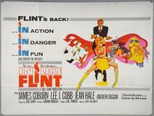 In Like Flint (1967) British Quad film poster starring James Coburn & Lee J. Cobb, with artwork by Bob Peak, 20th Century Fox, folded, 30 x 40 inches