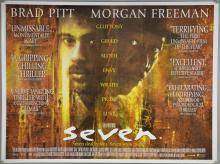 Seven (1995) British Quad film poster, starring Brad Pitt & Morgan Freeman, New Line Cinema, rolled, 30 x 40 inches