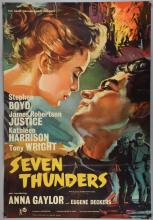Seven Thunders (1957) One sheet film poster, starring Stephen Boyd, Rank, folded, 27 x 40 inches